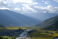View of the city, Paro, Bhutan Stock Images