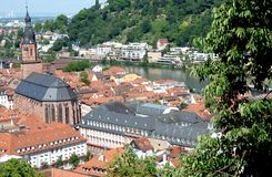 View of the city from the path leading to the castle of Heidelberg, Germany Stock Photo