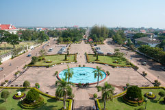 View of the city from Patuxai Gate in Vientiane Royalty Free Stock Photography