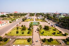 View of the city from Patuxai stock photos