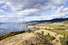 Penticton Okanagan Valley British Columbia Canada. View of the City of Penticton from Munson Mountain. Penticton is a small city located  in the Okanagan Valley Royalty Free Stock Photography