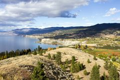 Penticton Okanagan Valley British Columbia Canada. View of the City of Penticton from Munson Mountain. Penticton is a small city located  in the Okanagan Valley Royalty Free Stock Photo