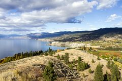 Penticton Okanagan Valley British Columbia Canada. View of the City of Penticton from Munson Mountain. Penticton is a small city located  in the Okanagan Valley Stock Image