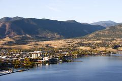 Penticton Okanagan Valley British Columbia Canada. View of the City of Penticton from Munson Mountain. Penticton is a small city located  in the Okanagan Valley Stock Photo