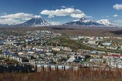 View of city Petropavlovsk-Kamchatsky and volcanoes. Kamchatka Stock Images