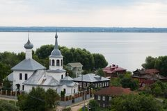 View of the city of Ples and the Volga River Royalty Free Stock Photography