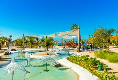 View of the city pool in the city park, Dubai, United Arab Emirates. Copy space for text stock photo