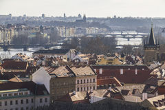 View on the city of Prague from castle hill Stock Image