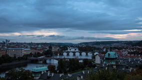 View of city of Prague at dusk. Timelapse stock video
