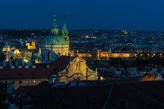 View on Prague at night stock images