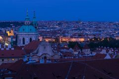 View on Prague at night royalty free stock images