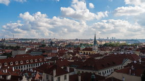 View of city of Prague on a sunny day stock video footage