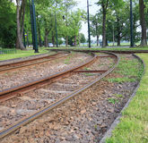 View of the city public tram lines Stock Photography