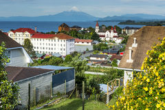 View of the city of Puerto Varas and Llanquihue lake and Osorno volcano (Chile) Stock Photo