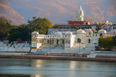 View of the City of Pushkar, Rajasthan, India. Houses reflected in the water. A beautiful lake. Stock Photography