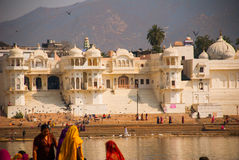 View of the City of Pushkar, Rajasthan, India. Houses reflected in the water. A beautiful lake. Royalty Free Stock Photo