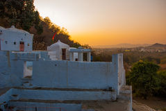 View of the City of Pushkar, Rajasthan, India. Sunset. Stock Photo