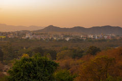 View of the City of Pushkar, Rajasthan, India. Sunset. Stock Images