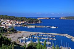 View on city of Pylos and Navarino bay. Messenia, Greece royalty free stock image