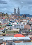 View of the city of Quito with the Basilica Churh. In the background Stock Photography