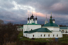 View from the city ramparts to the church and Shopping arcade. Late in the fall. Suzdal. Russia. Royalty Free Stock Photography