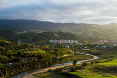 View of the city and the river at sunset. Royalty Free Stock Images