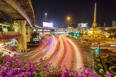 View city roads and traffic around Victory Monument Royalty Free Stock Image