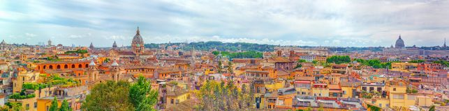 View of the city of Rome from above, from the hill of Terrazza d. El Pincio. Italy Royalty Free Stock Images