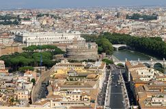 View of the city of Rome with Castel Sant Angelo Stock Image