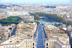 View of the city of Rome from the dome of St. Peter's Basilica Stock Photos