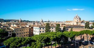 View of the city of Rome from the roof of the Capitol. Stock Photo