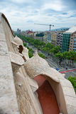 View of City from Roof of Casa Mila in Barcelona Stock Photo