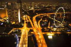 A view of city from roof Marina Bay Hotel on Singapore. Stock Photography