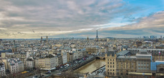 A view of the city from the roof of Notre Dame. City landscape, Eiffel Tower, Paris, beautiful clouds Stock Images