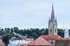 View of the city, rooftops, a chapel on the main street Turda Romania stock photo