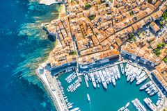 View of the city of Saint-Tropez, Provence, Cote d`Azur, a popular destination for travel in Europe