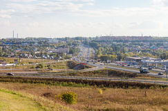 View of the city of Samara from IKEA hypermarket in summer sunny Royalty Free Stock Images