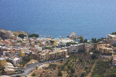 View the city of Sant'Elia. From Solunto Royalty Free Stock Photo