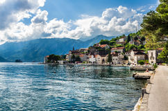 View on city and sea bay and Perast Royalty Free Stock Photos