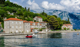 View on city and sea bay in Perast Royalty Free Stock Photos