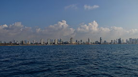 View of city from sea. View of big israely city from the Mediterranean Sea Stock Image