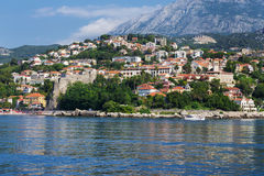 View of the city from the sea, Herceg Novi, Montenegro Royalty Free Stock Photo