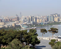 View of city on the seaside. the Caspian coast city of Baku, vie Stock Image