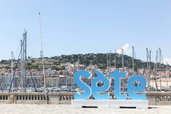 View of the city of Sete from the harbor, France. View of the city of Sete from the harbor, Southern France stock photo