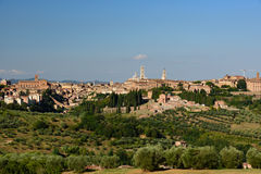 View of the city of Siena from the surrounding countryside. View of the city of Siena, Italy from the surrounding countryside royalty free stock images