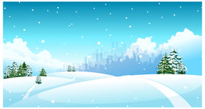 The view of City skyline. Over snow landscape Royalty Free Stock Images