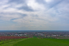 A view on city of Slankamen from a hill, near Danube river Royalty Free Stock Photo