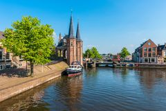 Sneek Friesland Netherlands. View on the city of Sneek, Friesland, Netherlands on spring day royalty free stock photos