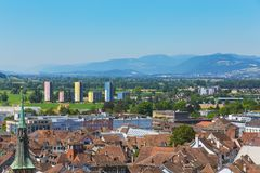 View of the city of Solothurn from the tower of the St. Ursus cathedral. View of the city of Solothurn from the tower of the famous St. Ursus cathedral in summer royalty free stock image
