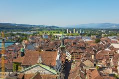 View of the city of Solothurn from the tower of the St. Ursus cathedral. Solothurn, Switzerland - July 10, 2016: view of the city of Solothurn from the tower of stock photo